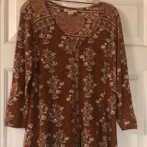 Brown with cream floral Style & Co top blouse PM